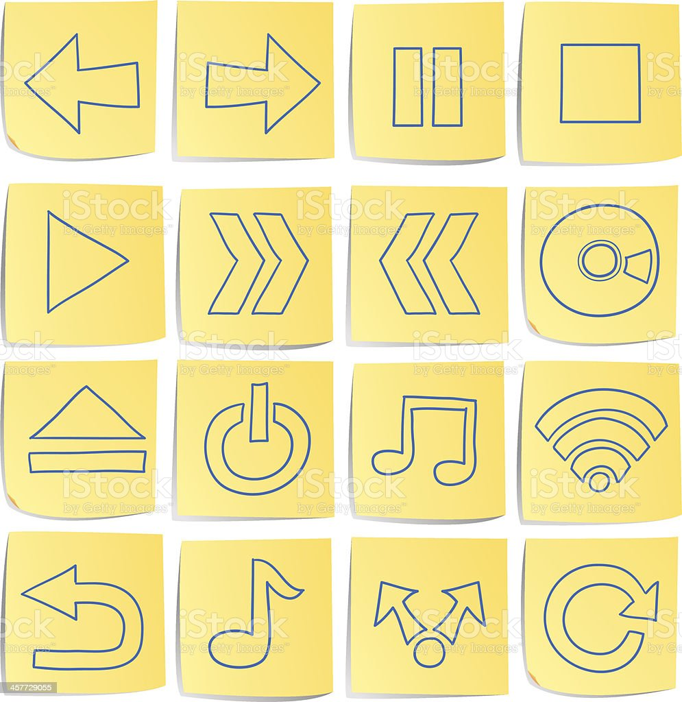 Doodle memo icon set royalty-free stock vector art
