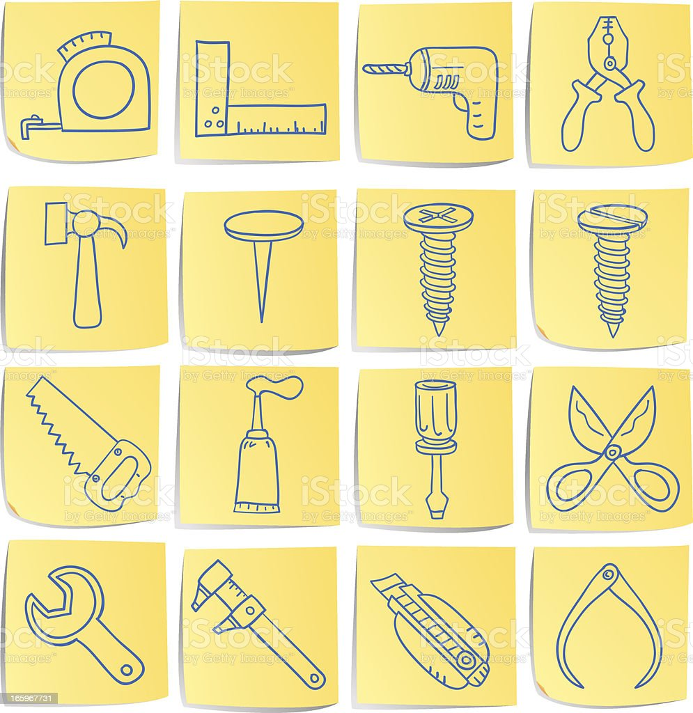 Doodle memo icon set - Work tools royalty-free stock vector art