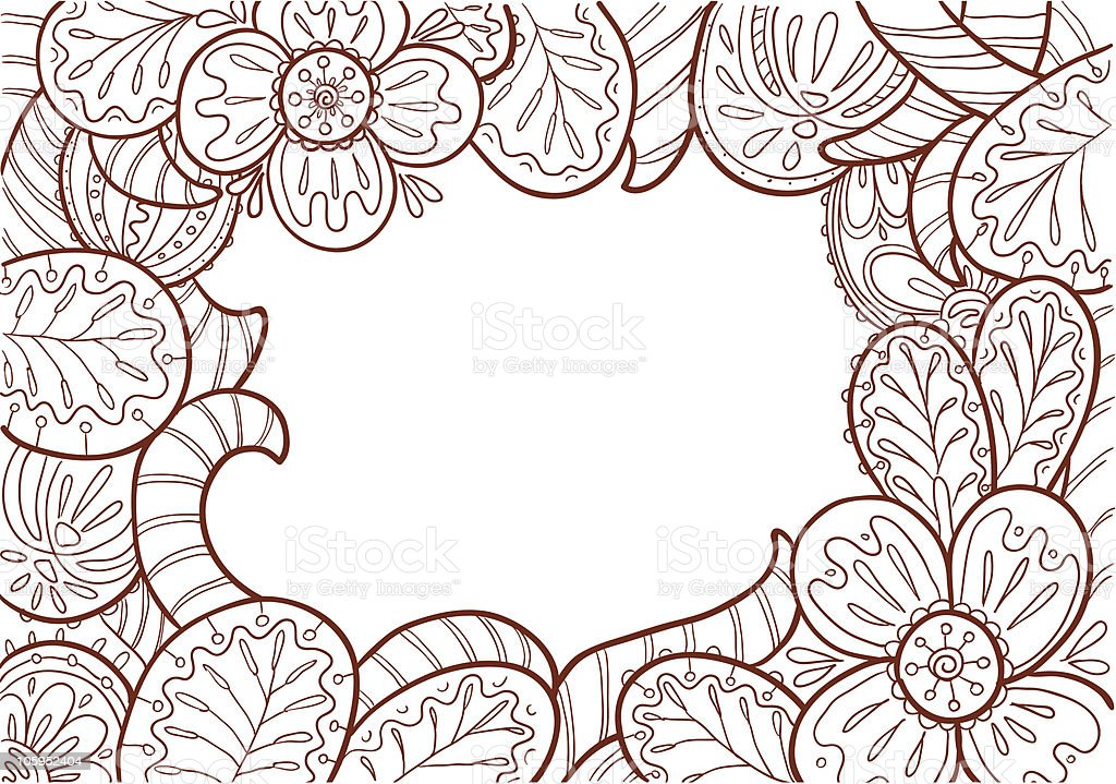 Doodle monochrome frame decorate by floral ornament royalty-free stock vector art