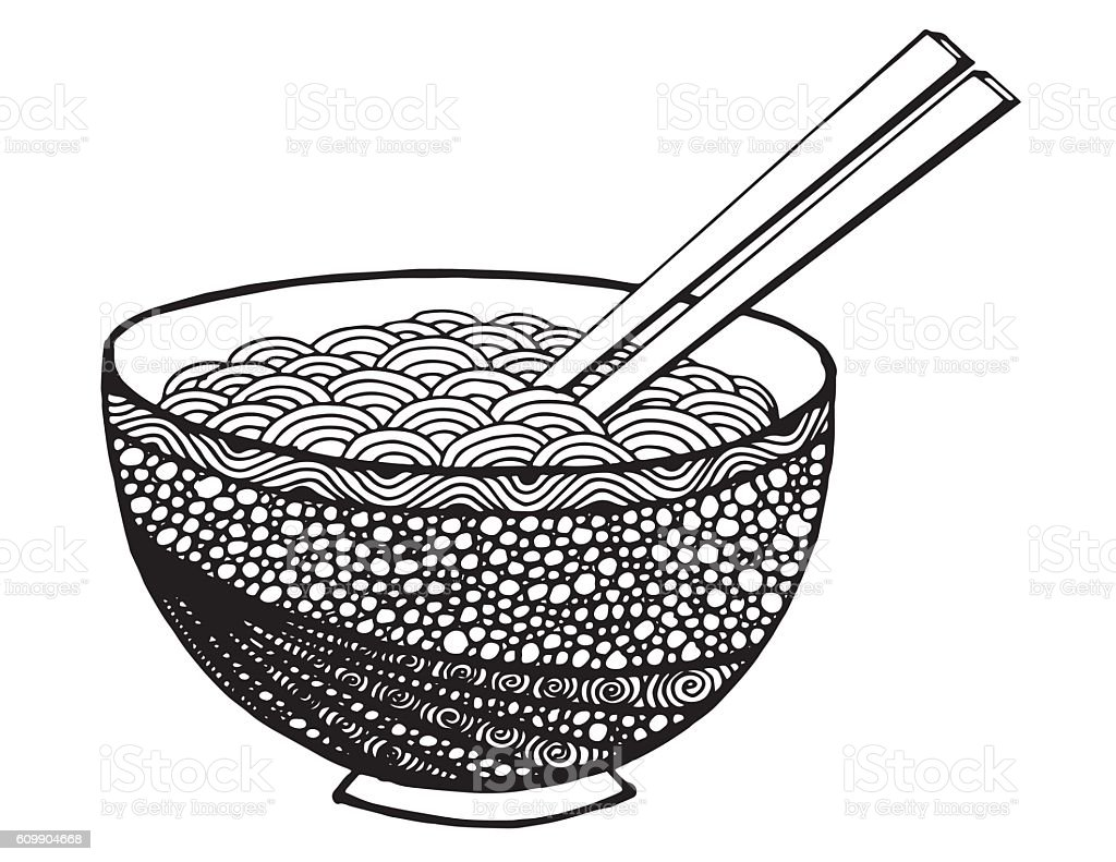 doodle Noodle at bowl and stick. hand drawing vector art illustration