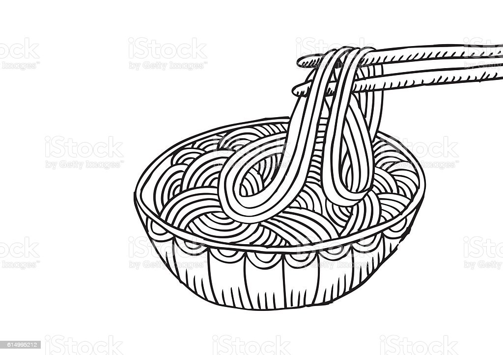 Doodle Noodle at bowl and stick. Sketchy style. vector art illustration
