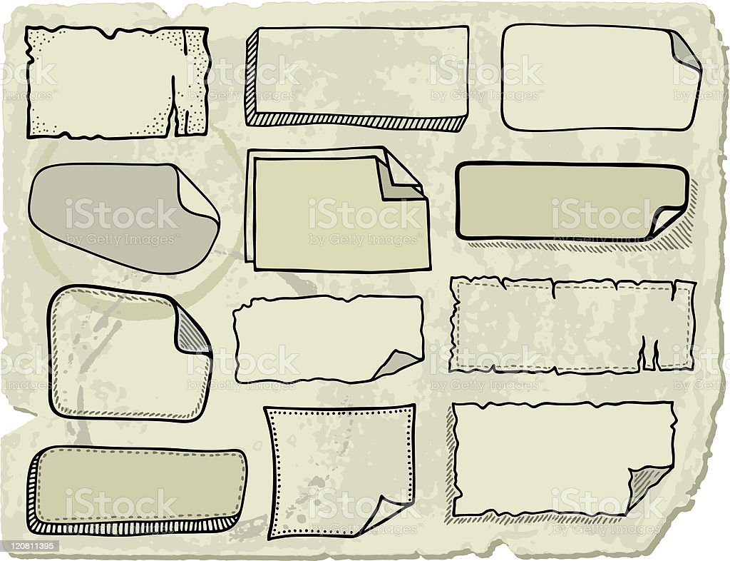 Doodle note papers royalty-free stock vector art