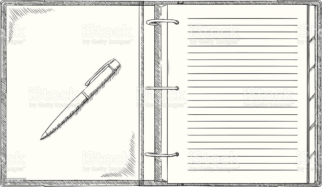 Doodle notepad with pen royalty-free stock vector art