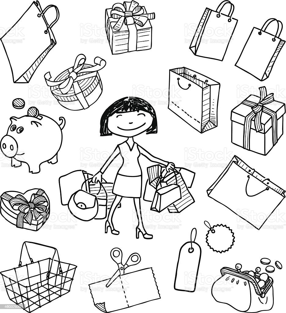 doodle of a shopping vector art illustration