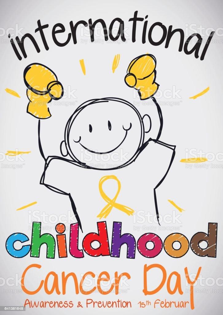 Doodle of Boy with Gloves for International Childhood Cancer Day vector art illustration