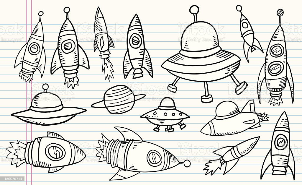 Doodle Outer Space Rocket UFO Vector Set royalty-free stock vector art