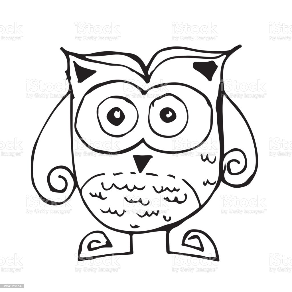 doodle owl icon hand draw illustration design and drawing by