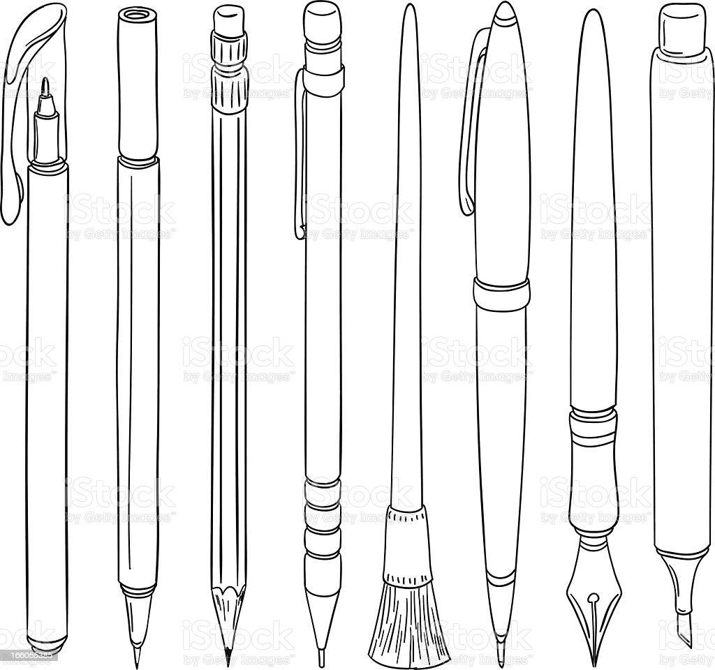 Doodle Pen collection vector art illustration