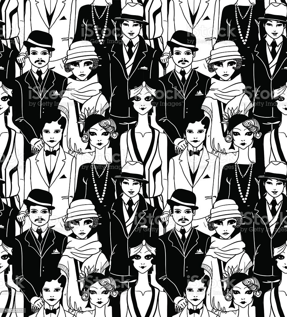 Doodle people in art deco style. Seamless pattern. vector art illustration