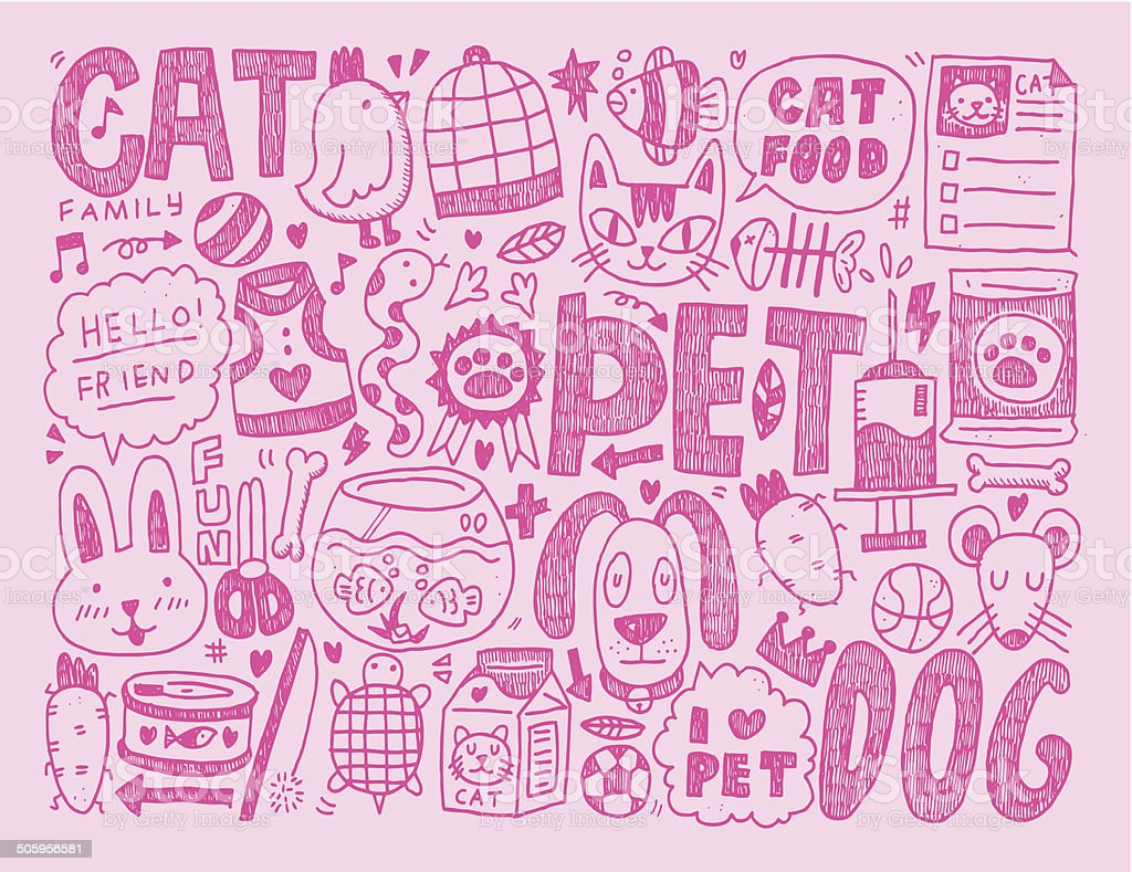 doodle pet background royalty-free stock vector art