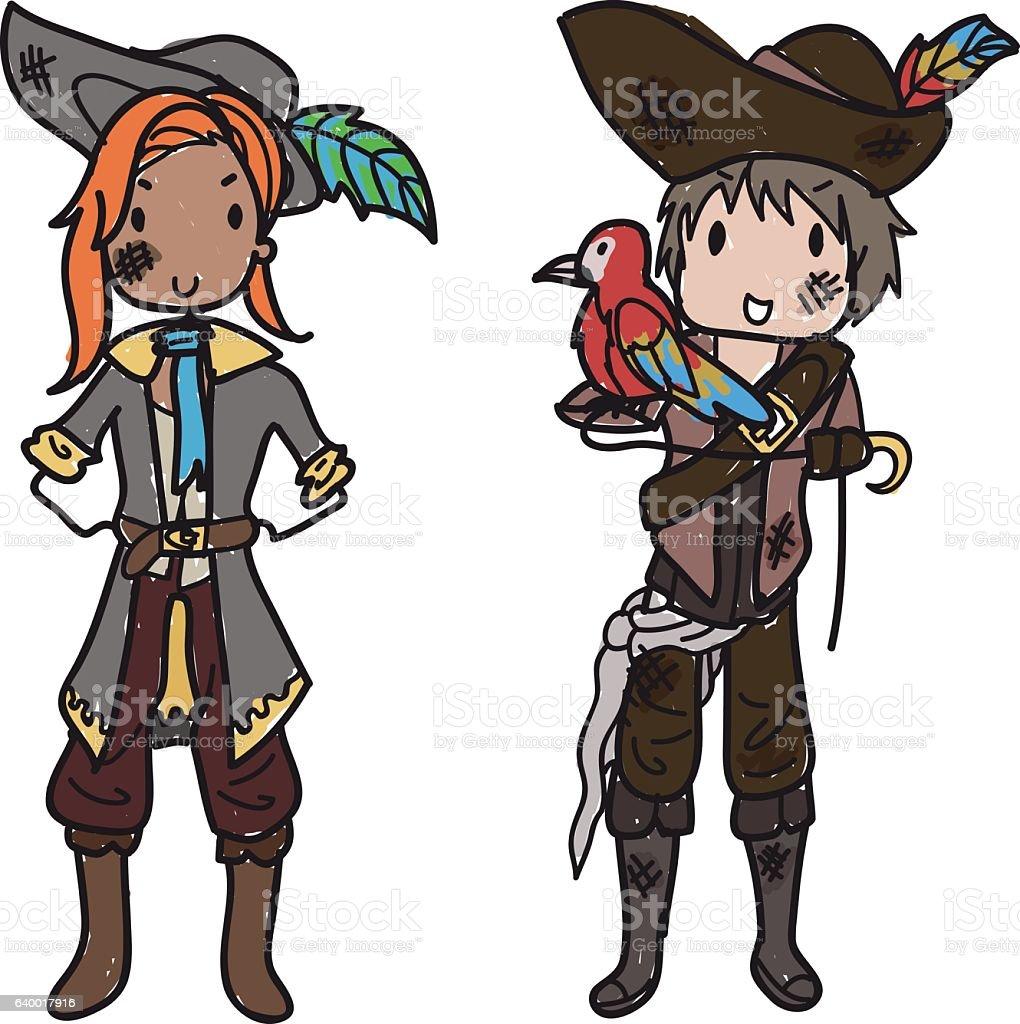 Doodle pirate couple vector art illustration