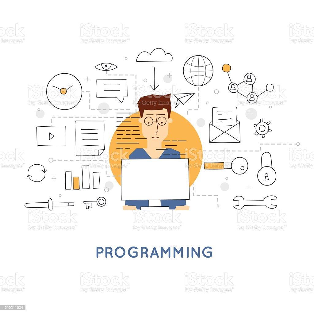Doodle Process coding and html programming. Flat design vector illustration. vector art illustration