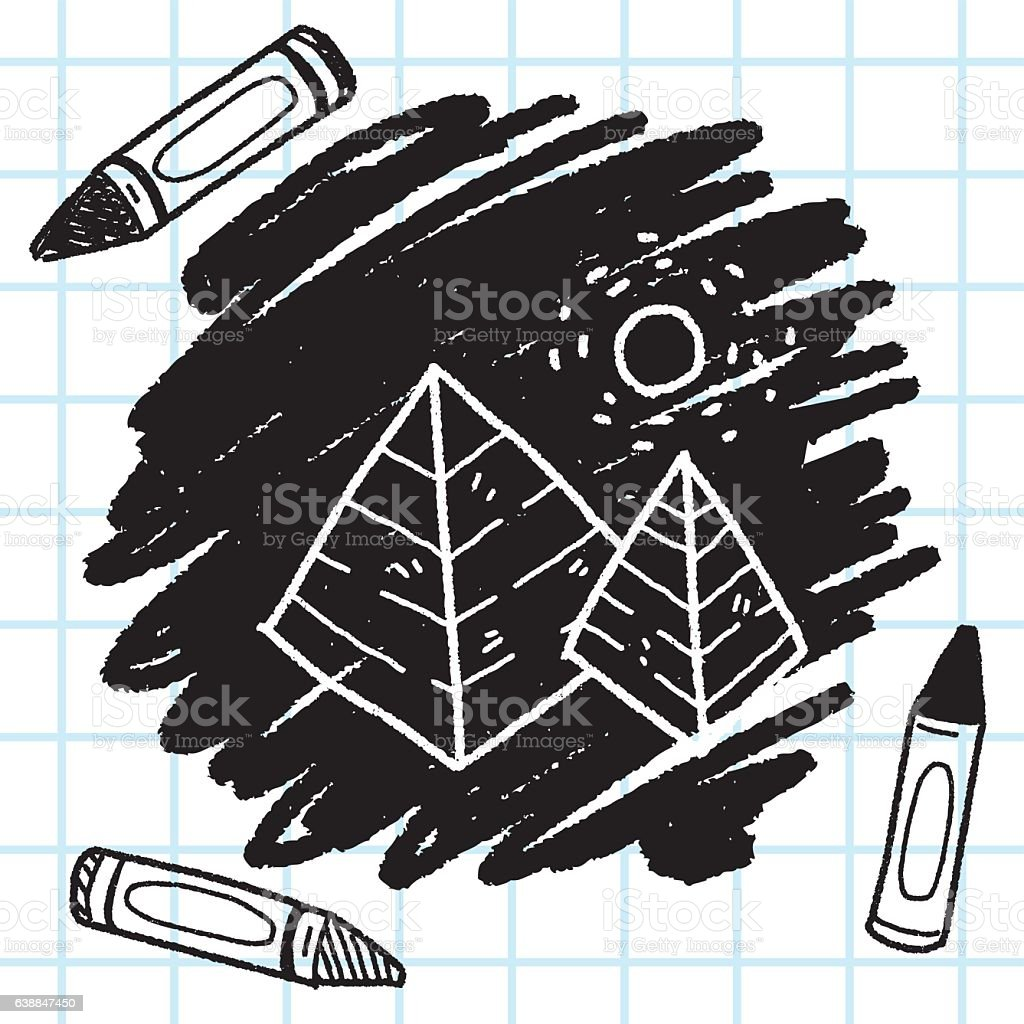 doodle pyramid vector art illustration