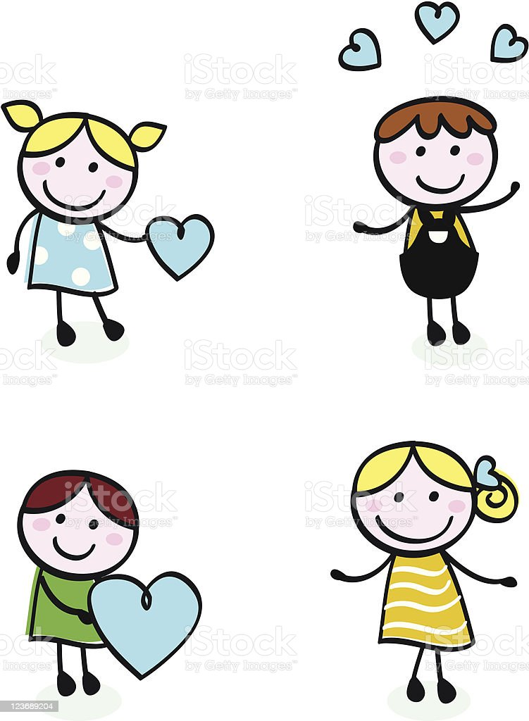 Doodle retro stitch kids with love icons isolated on white royalty-free stock vector art