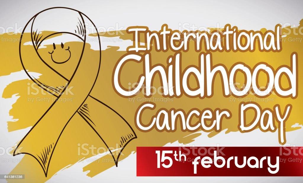 Doodle Ribbon and Golden Colored for International Childhood Cancer Day vector art illustration