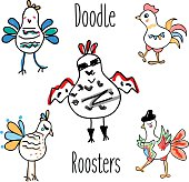 Doodle rooster birds vector set. Funny Cocks in sketch style