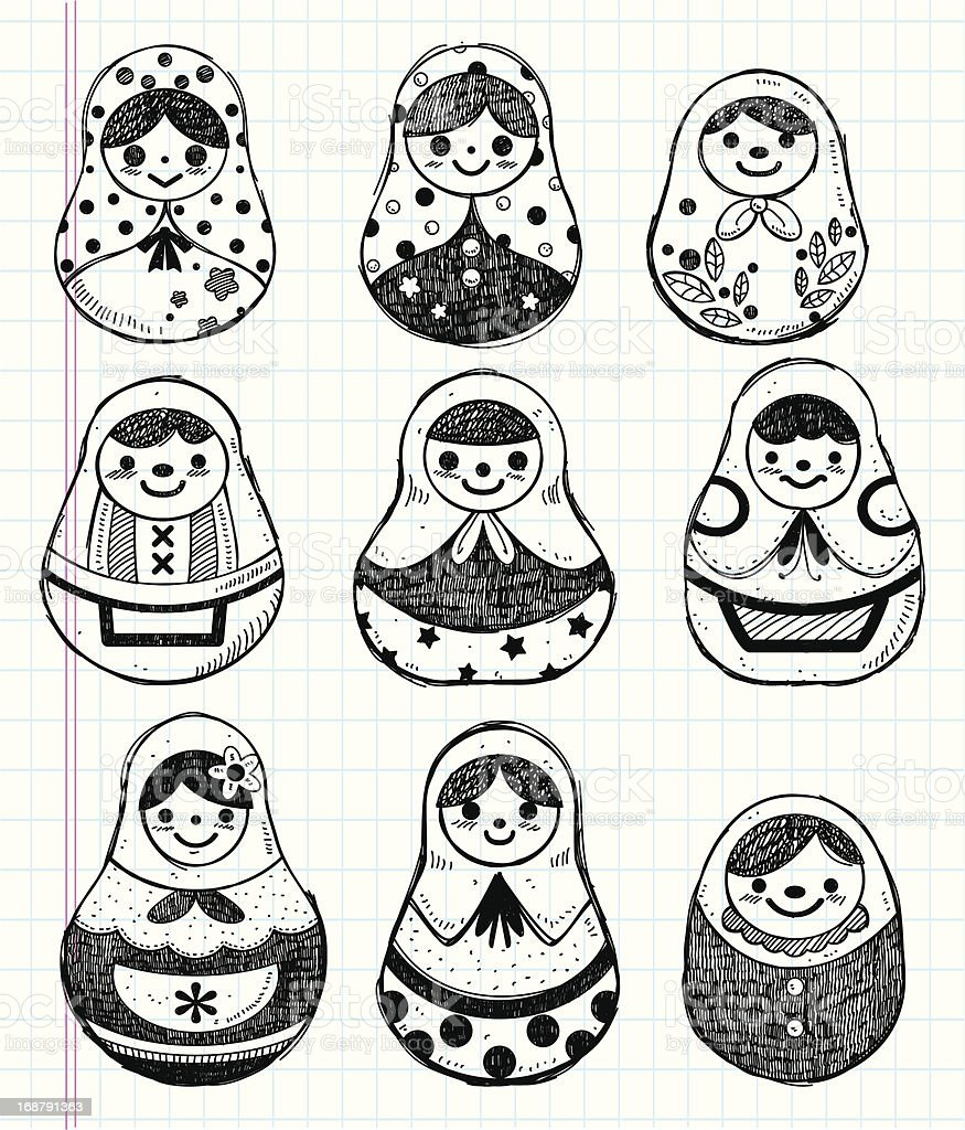 doodle Russian Doll element icon set royalty-free stock vector art