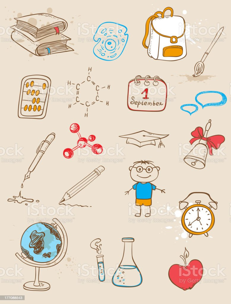 Doodle school icons royalty-free stock vector art