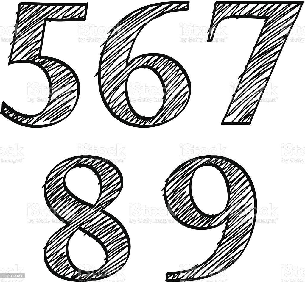 Doodle scribble sketch numbers digits 56789 royalty-free stock vector art