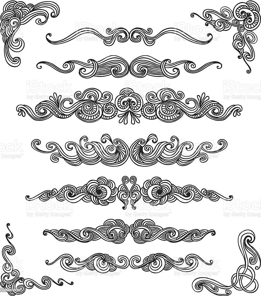 Doodle scroll set royalty-free stock vector art