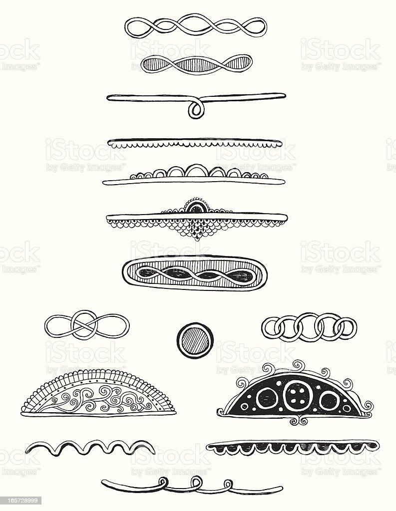 Doodle scrolls/dividers vector art illustration