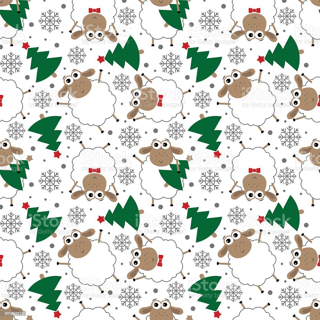 Doodle seamless pattern of funny New Year sheep. vector art illustration