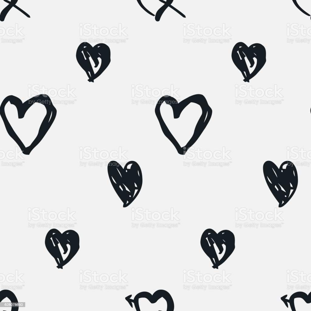 Doodle seamless pattern with hearts vector art illustration