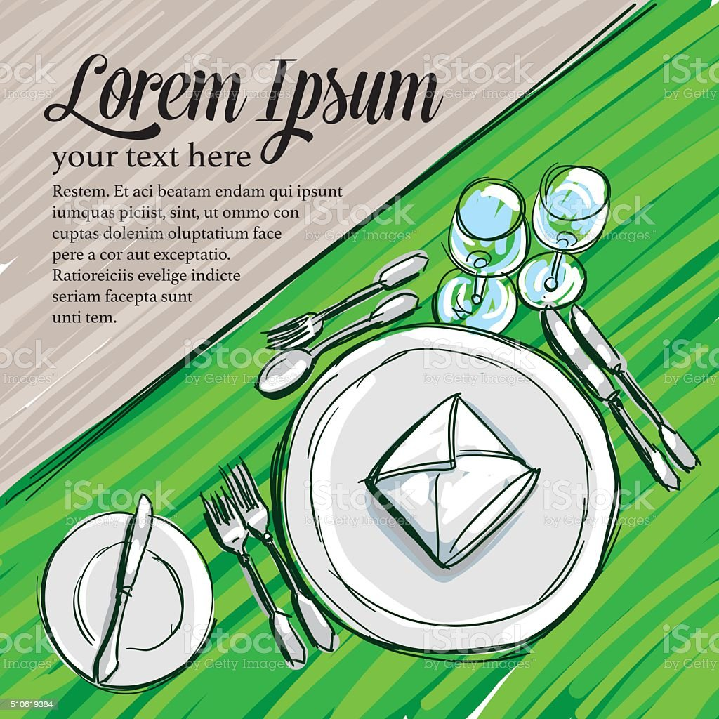 Doodle Service Table vector art illustration