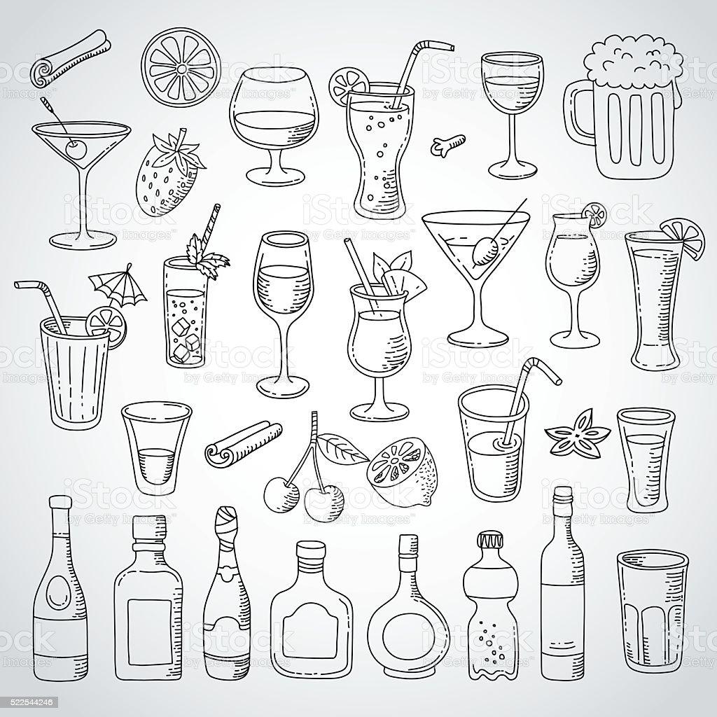 doodle set cocktail and drink vector art illustration
