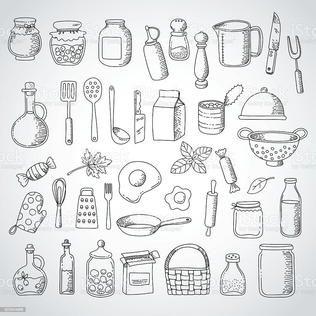 impostare di doodle cibo e utensili da cucina illustrazione ... - Utensili Cucina On Line