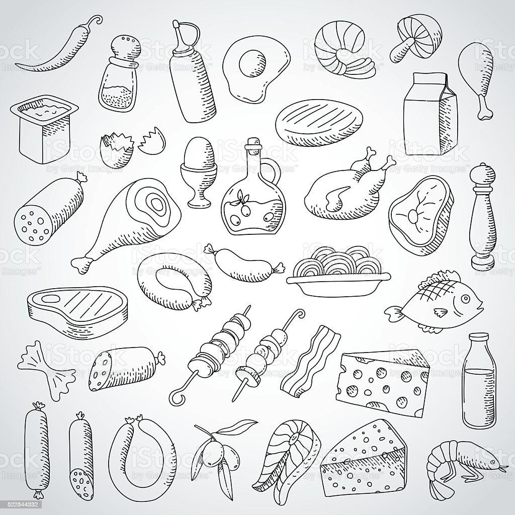 doodle set food and meat vector art illustration