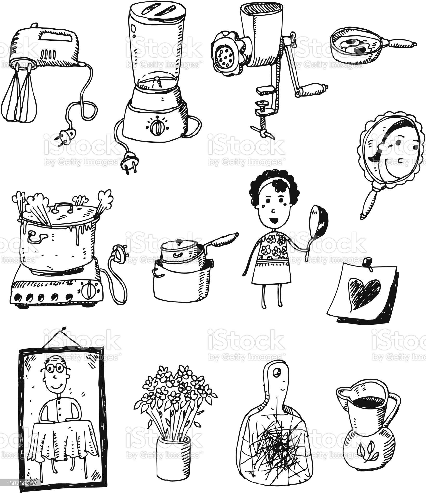 doodle set - kitchen royalty-free stock vector art