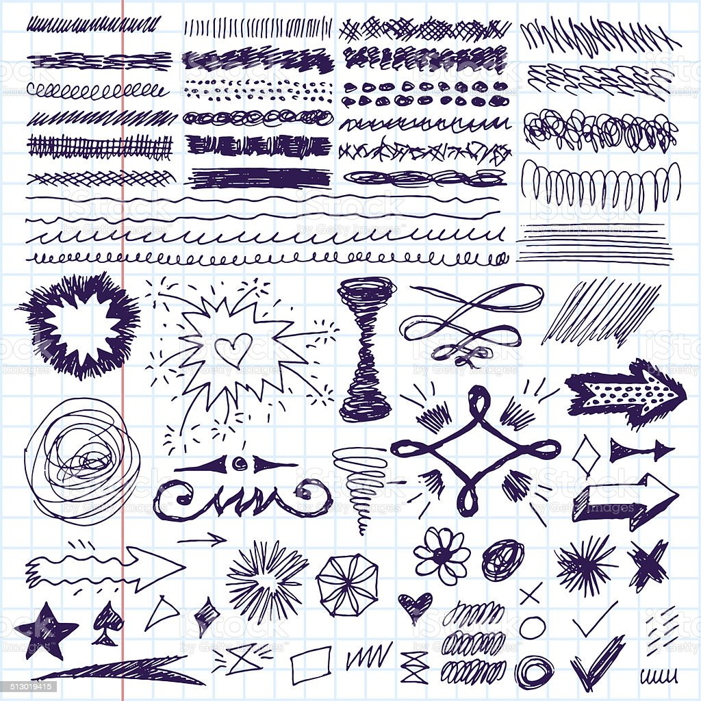 Doodle set of hand drawn strokes, text correction and highlighting. vector art illustration