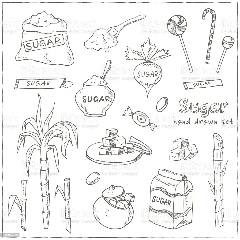 Doodle Set of sugar products Vector illustration vector art illustration