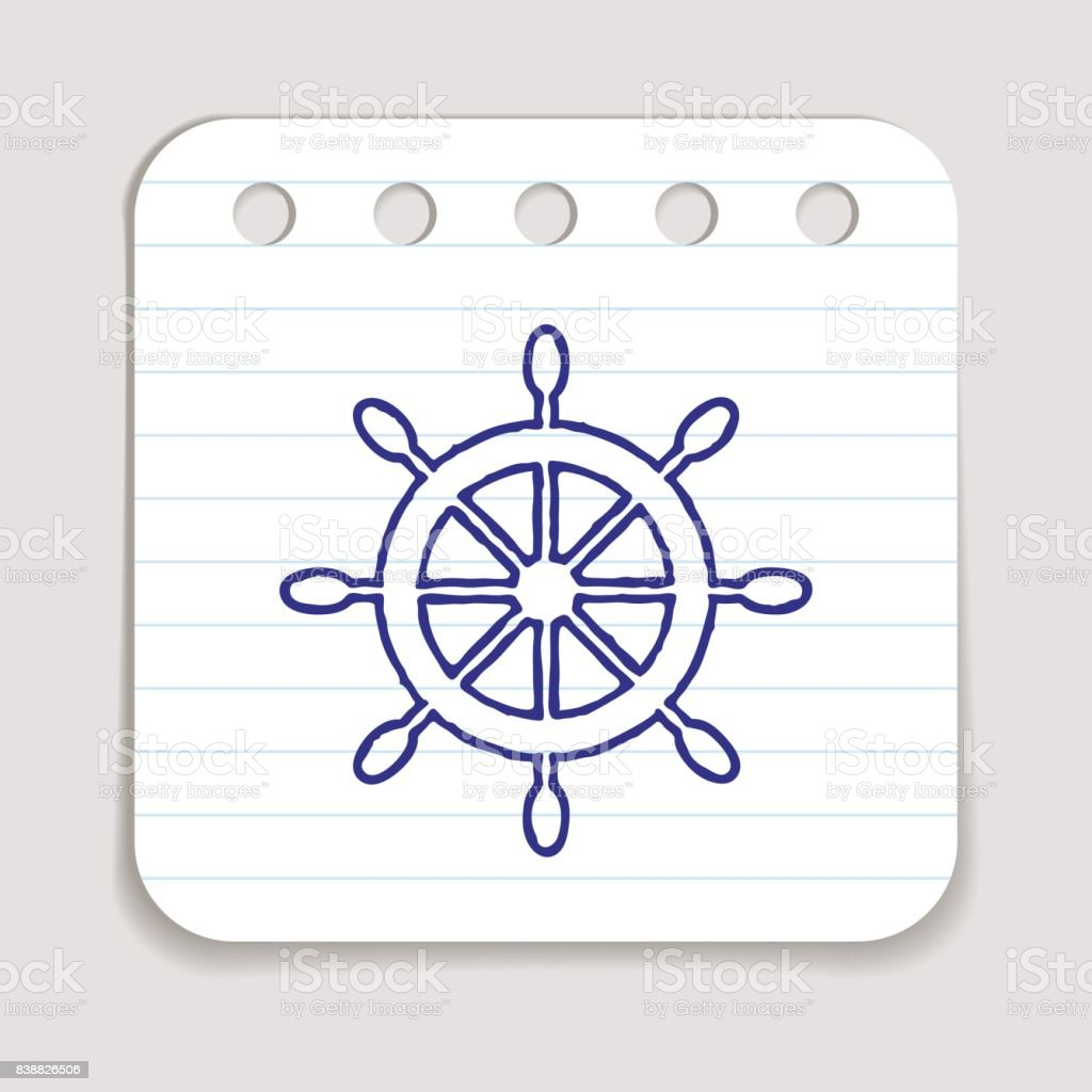 Doodle ship wheel icon vector art illustration
