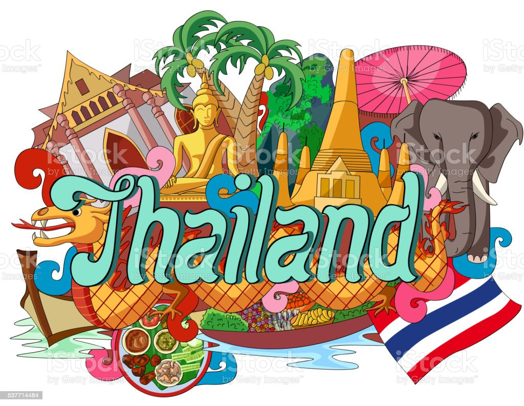Doodle showing Architecture and Culture of Thailand vector art illustration