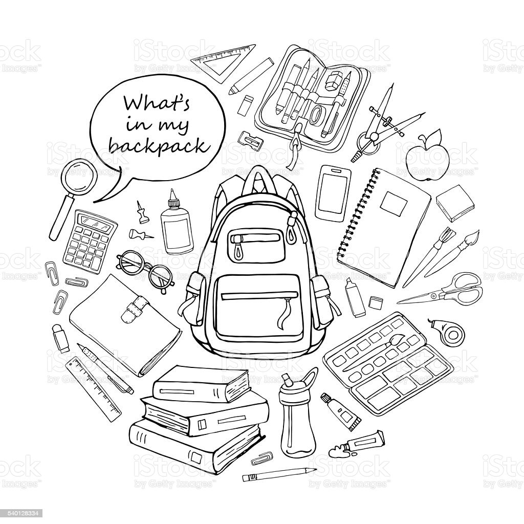 Doodle sketch educations objects in round shape isoladed on white vector art illustration