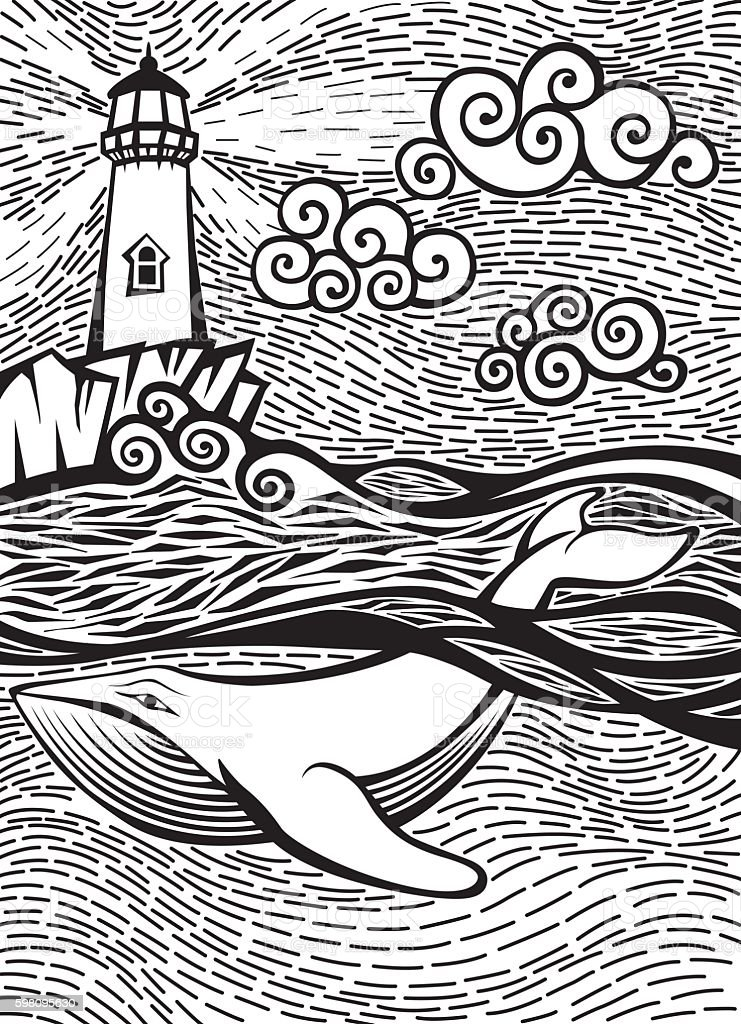 Doodle Sketch of a Whale in the Sea Near Lighthouse vector art illustration