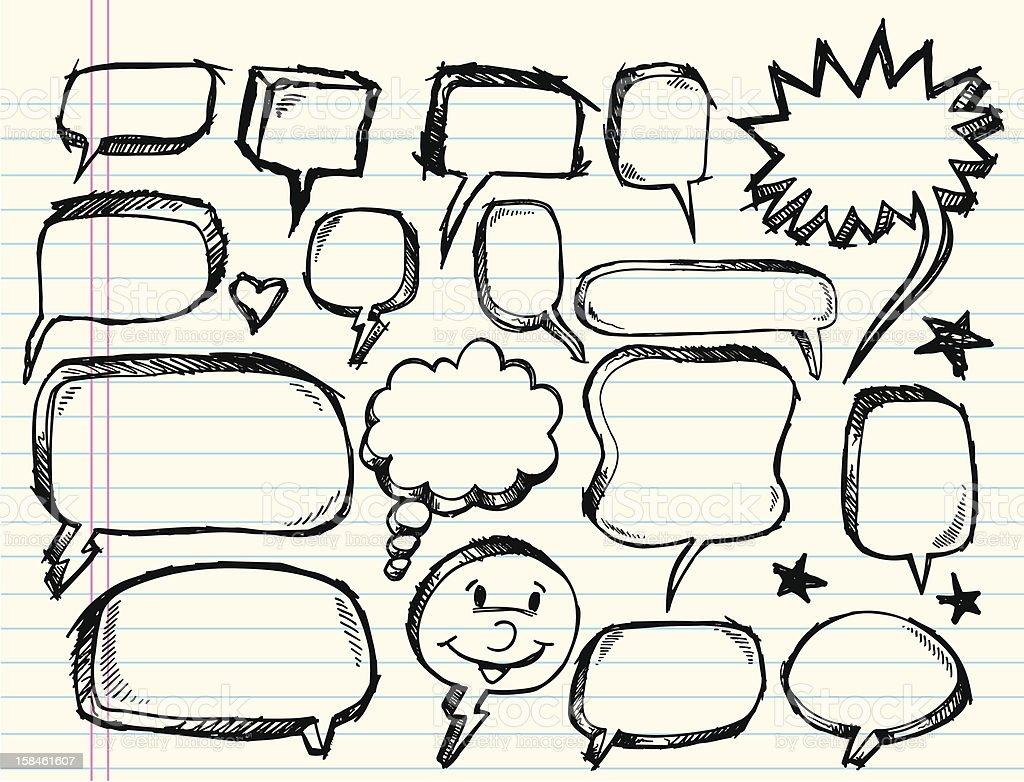 Doodle Sketch Speech Bubble Set royalty-free stock vector art