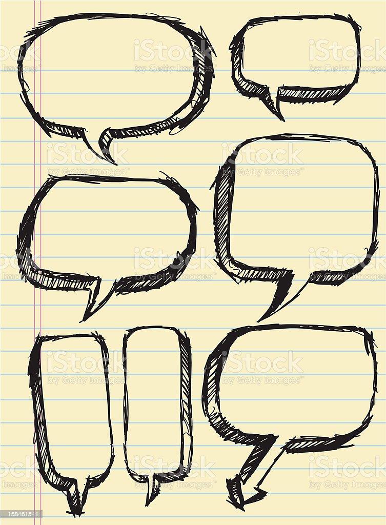 Doodle Sketch Speech Bubbles royalty-free stock vector art