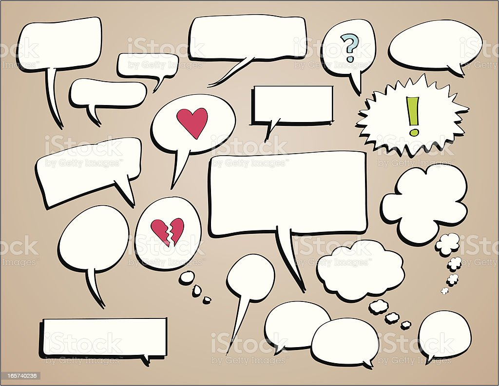 Doodle sketches of speech and thought bubbles royalty-free stock vector art