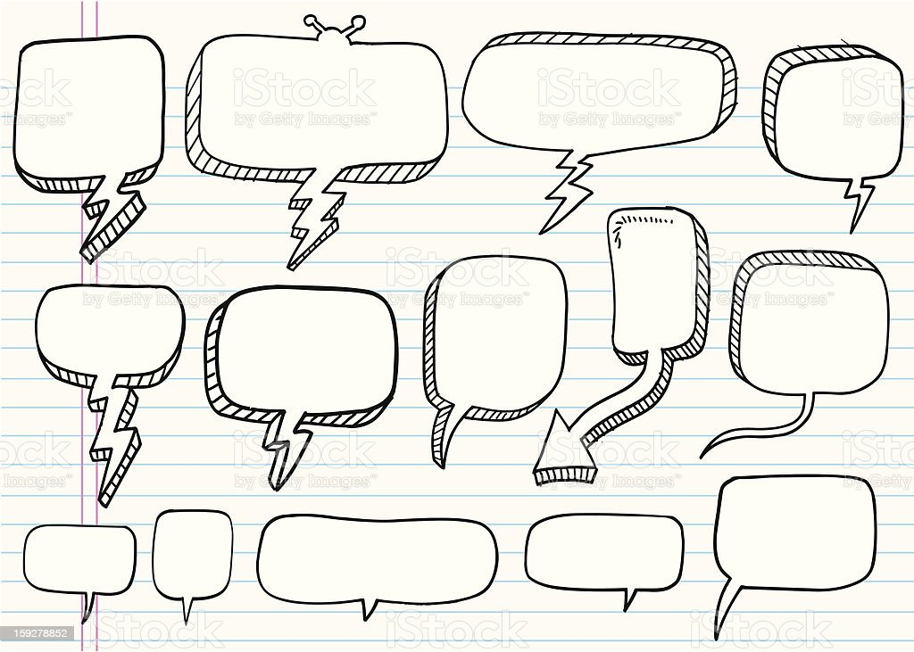 Doodle Speech Bubble Set royalty-free stock vector art