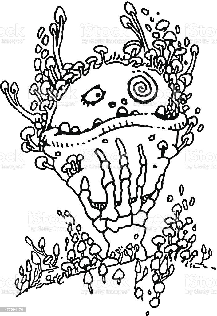 Doodle. Spooky, Funny Creature royalty-free stock vector art