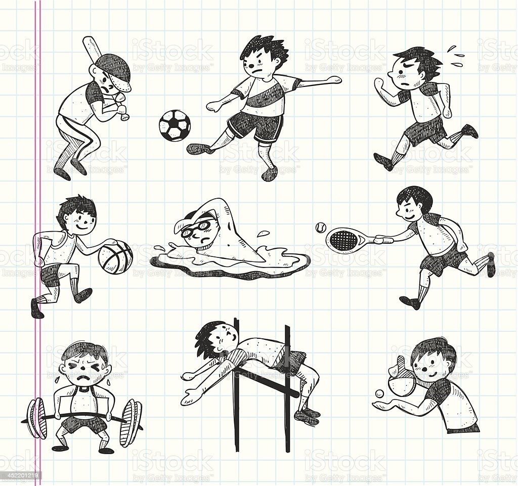 doodle sport player icons vector art illustration