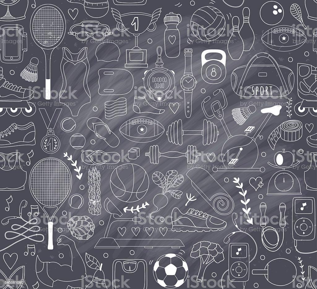 Doodle sports elements. Vector illustration vector art illustration