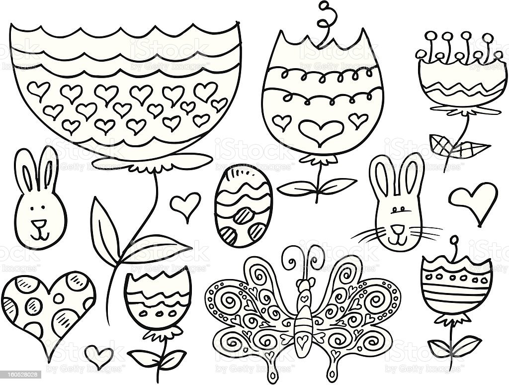 Doodle Springtime Easter Set royalty-free stock vector art