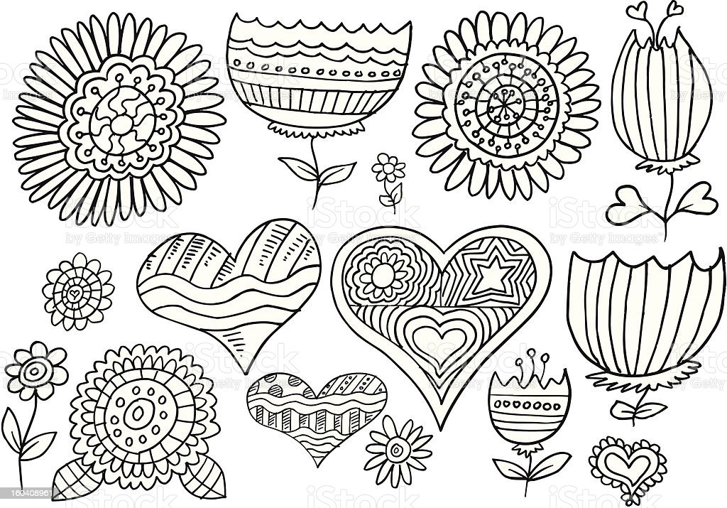 Doodle Springtime Flower and Hearts Set royalty-free stock vector art