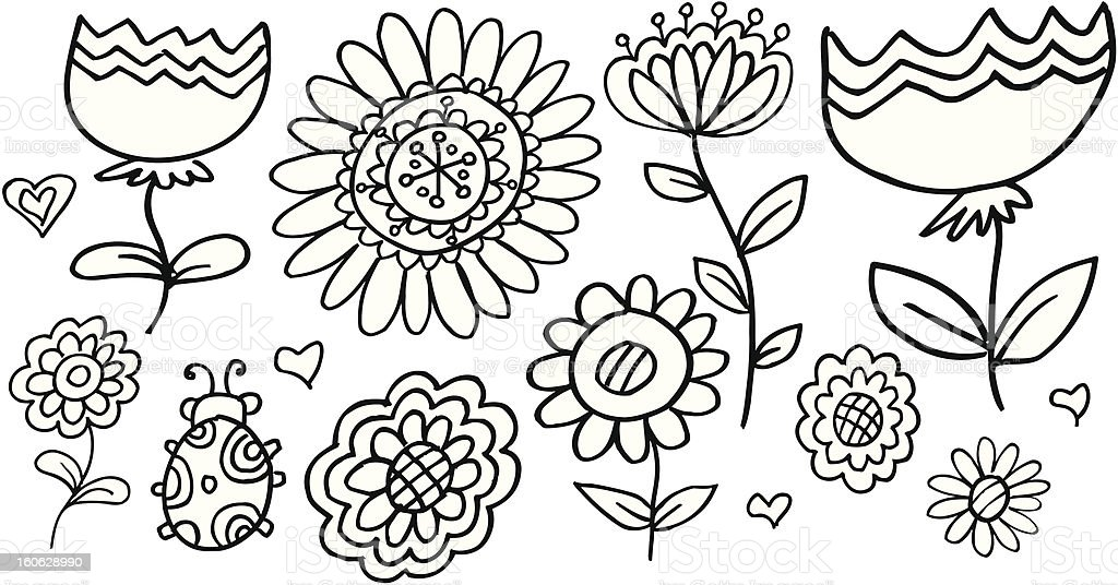 Doodle Springtime Flower Set royalty-free stock photo