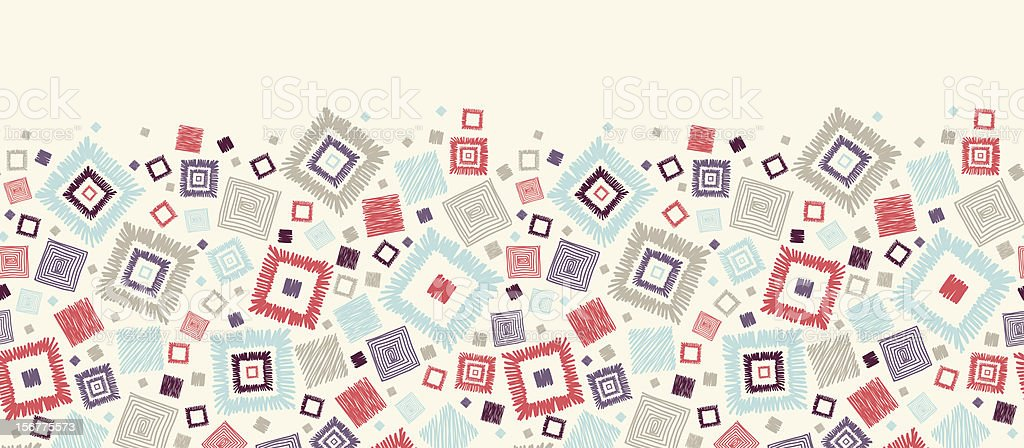 Doodle Squares Horizontal Seamless Pattern Border royalty-free stock vector art