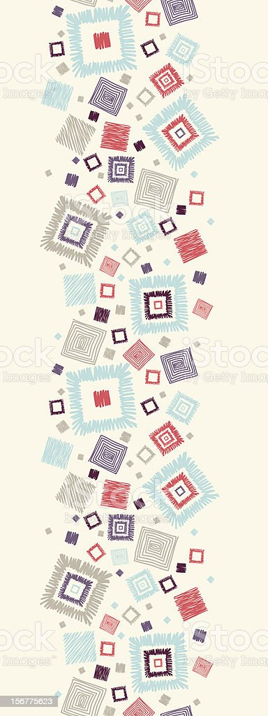 Doodle Squares Vertical Seamless Pattern Border royalty-free stock vector art